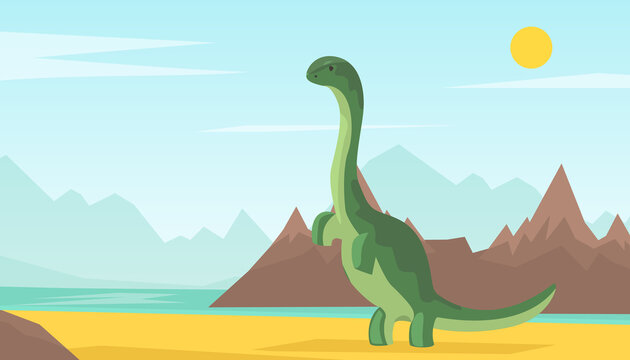 Dinosaur World, Adventure Park Poster, Card, Background, Prehistoric Animals Concept Cartoon Vector Illustration