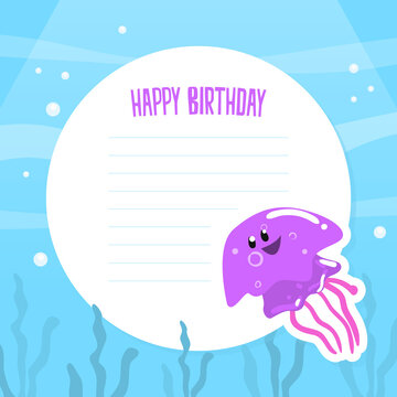 Happy Birthday Card Template, Holiday Party Invitation Card Design with Funny Marine Creature Characters Vector Illustration.
