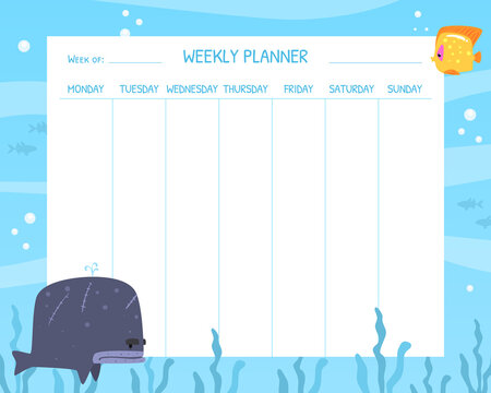 Weekly Planner with Funny Marine Creature Characters, Stationery Organizer for Daily Plans Cartoon Vector Illustration