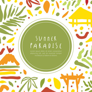 Summer Paradise Banner Template, Tropical Vacation, Resort Poster, Card, Background Vector Illustration