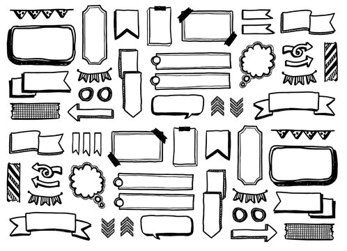 Vector set of hand drawn doodle elements. Arrows, thought bubble, bullets, banners, ribbons, buntings, frames