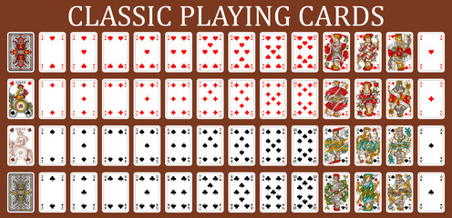 Fototapeta New Franzosische Spielkarte playing cards, simplified version. Poker set with isolated cards. Poker playing cards, full deck.