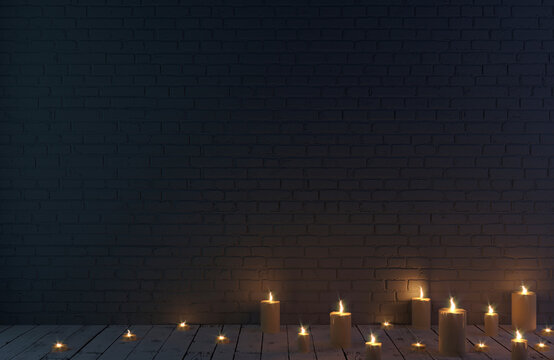Dark blue brick wall background and candles