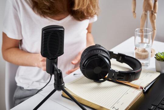 Podcast concept. Woman recording online course