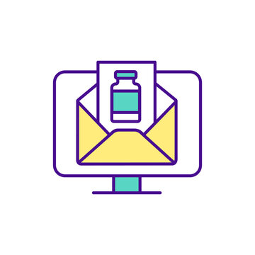 Computer screen with envelope image RGB color icon. Buying medicine online tips. Picture of medicine packaging. Online pharmacy idea. Choose reputable pharmacies. Isolated vector illustration