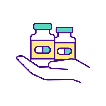 Available medicines RGB color icon. Hands hold medicine bottles. Getting pills and drugs from home. Buying medicine online tips. Online pharmacy avantages. Isolated vector illustration
