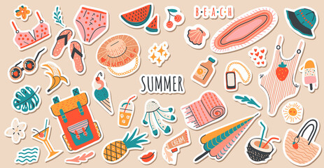 Fototapeta Set of cute vector summer stickers for daily planner. Collection of scrapbooking elements for beach party:cocktail,bag,ice cream,bikini,beach hat.Tropical vacation.Summertime doodle icons pack obraz