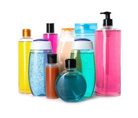 Wall Mural - Bottles of different personal hygiene products on white background
