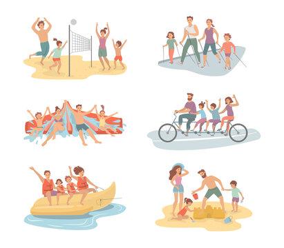 Cartoon set of family activities.