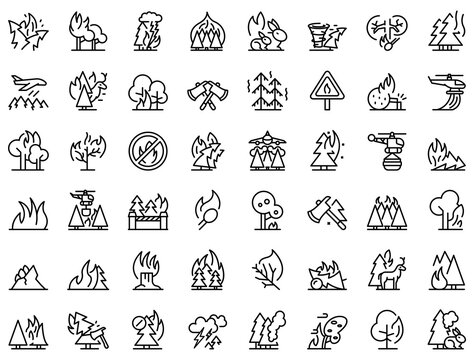 Burning forest icons set. Outline set of burning forest vector icons for web design isolated on white background