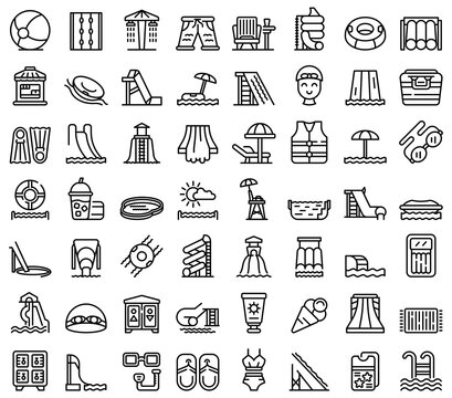 Water park icons set. Outline set of water park vector icons for web design isolated on white background
