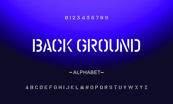 Vector sans serif stencil letter set, cropped alphabet.