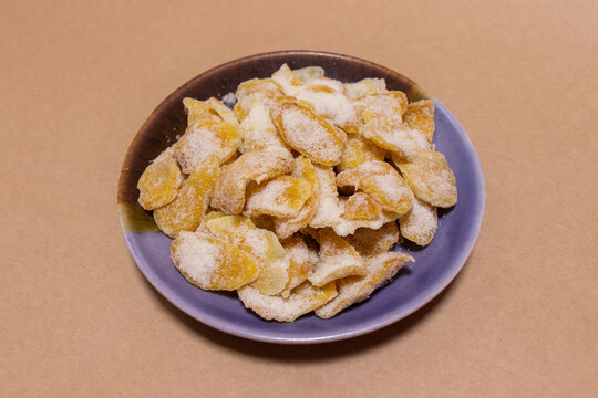 Slices of crystallized ginger, sweet and spicy dessert, healthy korean food.