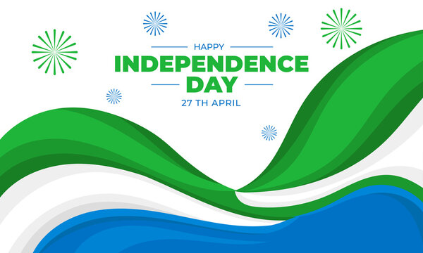 sierra Leone independence movement day, Patriotic sierra Leone flag banner post concept for April 27, Vector