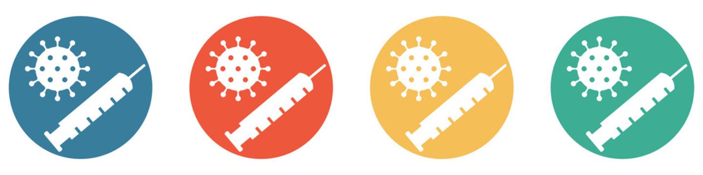 Bunter Banner mit 4 Buttons: Coronavirus Spritze zum Impfen