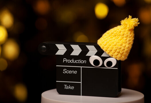 image of clapper board dark background