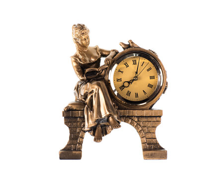 sculpture with vintage watch isolated on white background