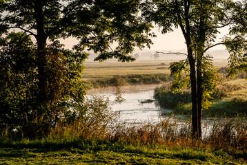 Fototapeta Piękny poranek z mgłami w Dolinie Narwi,Podlasie, Polska