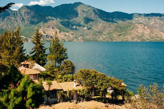 white house view of Laguna on Lake Atitlan