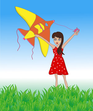 Kid with flying kite in field with blue sky outside in summer time. Vector illustration cartoons of child girl playing in park sun day.
