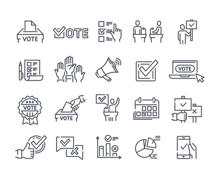 Simple Set of Voting Related Vector Icons.
