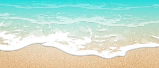 Summer background. Transparent sea wave.  3D vector. High detailed realistic illustration.