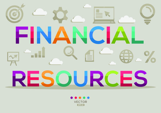 Creative (financial resources) Banner Word with Icon ,Vector illustration.