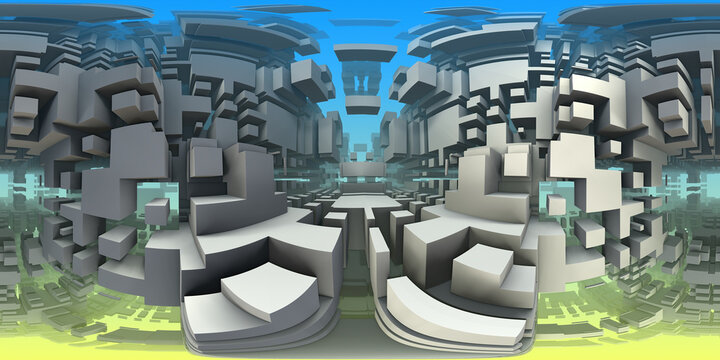 360 degree labyrinth, abstract maze background, equirectangular projection, environment map. HDRI spherical panorama.