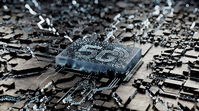 Wireless Technology Concept with 5G symbol on a Microchip. Data flows from the CPU across a Futuristic Motherboard. 3D render.