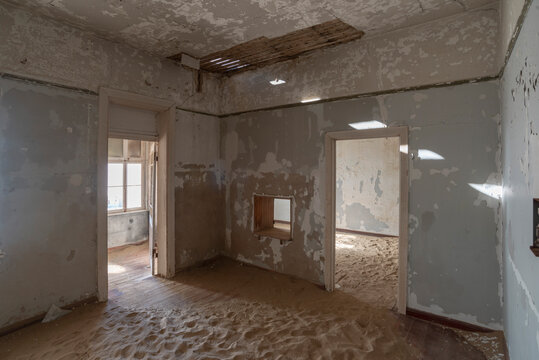 abandoned interior with sand