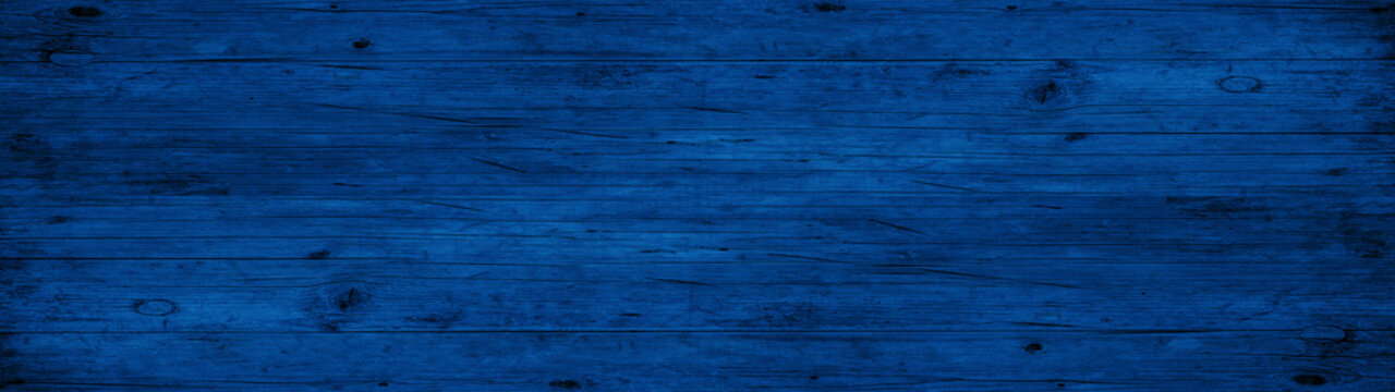 Abstract grunge old dark blue painted wooden texture - wood background panorama long banner