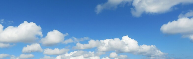 Panoramic view on blue sky and clouds