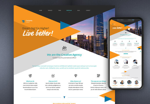 Website Layout with Orange and Blue Accents