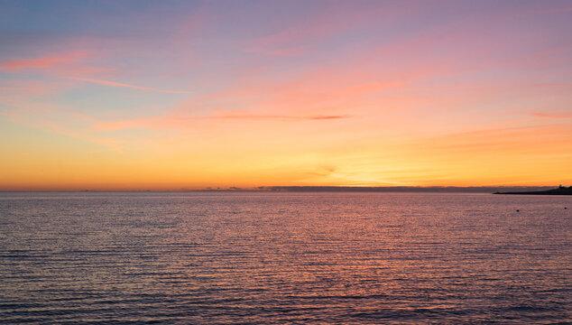 Beautiful sunset over the Black Sea in Sochi, in Adler
