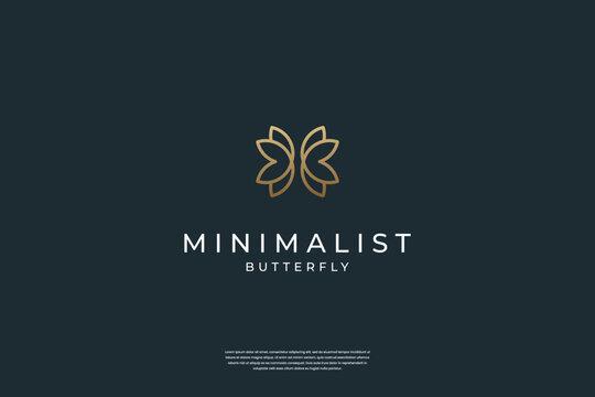 Minimalist elegant Butterfly logo design symbol