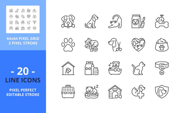 Line icons about dogs and cats. Pixel perfect 64x64 and editable stroke