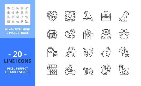 Line icons about pets and vet. Pixel perfect 64x64 and editable stroke