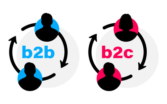 B2B and B2C flat vector icon. Successful business to business sales and business to client marketing. Successful Collaboration and partnership concept. B2B, B2C sales method