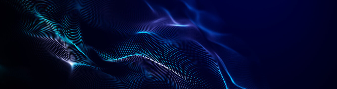 Futuristic point wave. Abstract background with a dynamic wave.Connecting background. Abstract wave. Artificial intelligence. Big data technology 3d rendering