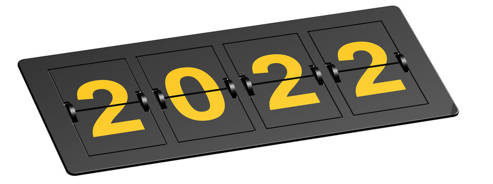 Flip board with yellow year 2022