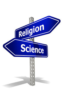 Road sign with religion and science word