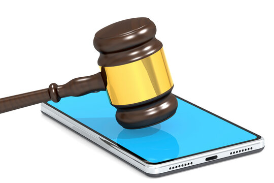 Gavel hammer and mobile phone