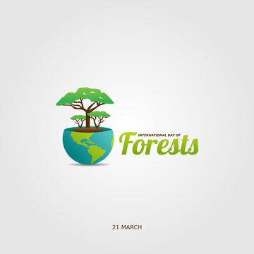 vector graphic of international day of forests good for day of forests celebration. flat design. flyer design.flat illustration.