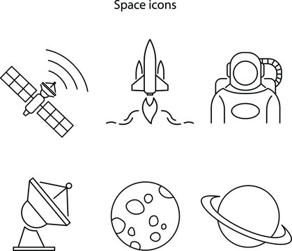 space icon set isolated on white background. space icon set trendy and modern space travel symbol for logo, web, app, UI. space travel icon simple sign.