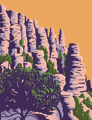 WPA poster art of the hoodoos and balancing rocks Chiricahua National Monument located in the Chiricahua Mountains of southeastern Arizona, United States done in works project administration style.