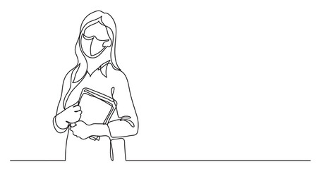 Wall Mural - teacher wearing face mask with books - continuous line drawing