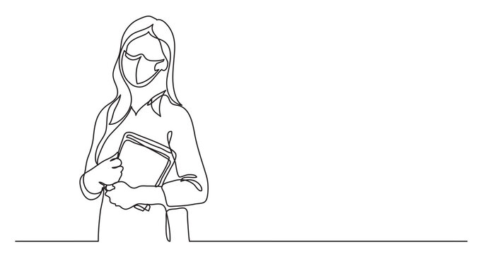 teacher wearing face mask with books - continuous line drawing