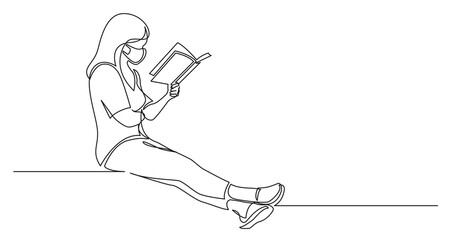 Wall Mural - continuous line drawing of sitting concentrated woman reading interesting book wearing face mask