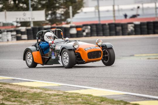 Circuit of Jarama, Madrid, Spain; April 03 2016: Lotus Seven in a classic car race at the Jarama circuit