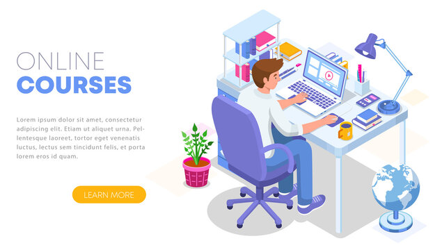 Modern flat design isometric concept of Online Education. Landing page template. Student character sitting at desk and taking online courses. Can use for web banner, infographics, and website. Vector